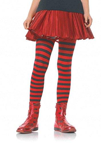Leg Avenue's Children's Striped Tights, Black/Red, -