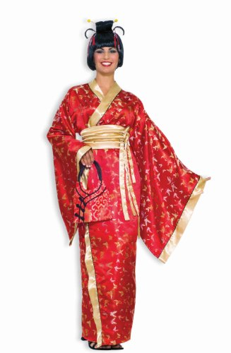 [Forum Novelties Madame Butterfly Geisha Costume, Red, One Size] (Sexy Geisha Costumes)