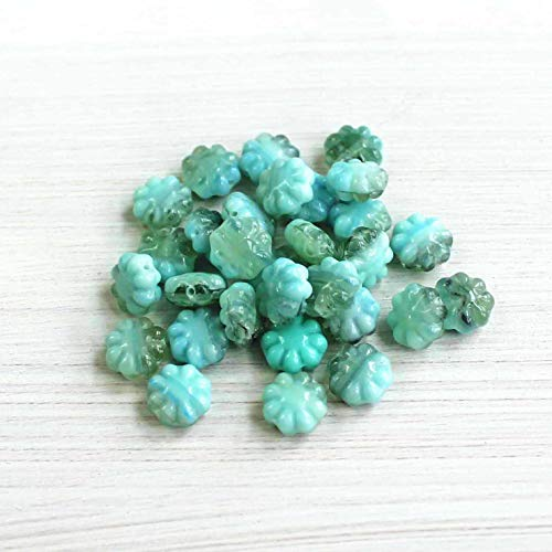 Pendant Jewelry Making for Bracelets and Chains 15 Czech Glass Beads 9mm Daisy Flower Beautiful and Versatile - CB203
