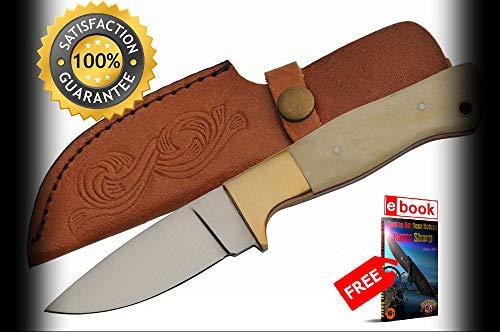 (Hunting SHARP KNIFE Rite Edge 8'' Overall White Bone Skinner Blade + Leather Sheath Combat Tactical Knife + eBOOK by Moon)