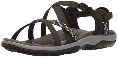 Skechers Women's Regga Slim Keep Close Gladiator Sandal,Black,9 M US