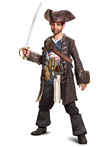 Disguise POTC5 Captain Jack Sparrow Prestige Costume,  Multicolor,  Medium (7-8) ()