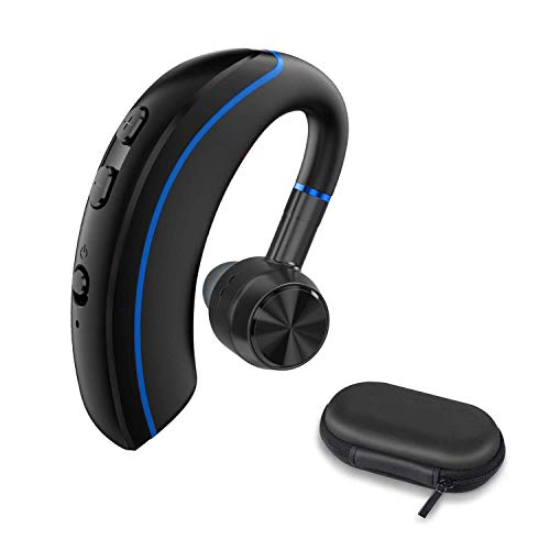 Bluetooth Headset, FLINEVE Wireless Earpiece V4.2 Ultralight Hands Free Business Earphone with Mic for for Office/Office/Trucker Driving (Blue)