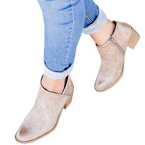 High Side Booties Ankle Cut Pointed Womens Block Toe Boots beige V 2 Chunky Heel Zipper wfUxq0