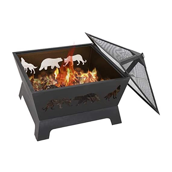 LEMY 26 Inch Outdoor Metal Stove Fire Pit - Backyard Patio Capming Wood Burning Fireplace, Geometric Shaped Steel Fire Pit w/Extra Deep Pit&Cover - 【Heavy Metal Construction】This durable fire pit is manufactured from a sturdy steel iron mesh and frame construction,finished with Heat and rust-resistant coating Surface protection against high temperature.Enjoying it this winter season. 【Deeper Fire Pit】Unlike other ordinary firepit,this new updated fireplace has a great depth,it have plenty of room for firewood and charcoal.There are raised iron brackets on the bottom for the wood for better ventilation,the construction allowed it to light quickly and throw off very good heat. 【Safe Fire Pit】 This wood burning fire pit features with mesh lid to help prevent embers blowing away and comes with a poker to move hot woods and remove the mesh lid safely,so you don't burn your hand putting the cover on.Also have a rain cover to avoid getting rusty by water or rain when not in use. - patio, outdoor-decor, fire-pits-outdoor-fireplaces - 41CaBeczRrL. SS570  -