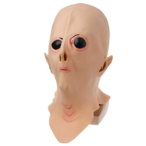 Kalttoyi Halloween Latex Alien UFO Scary Mask, Full Face Masquerade Costume Party Toy Prop ()