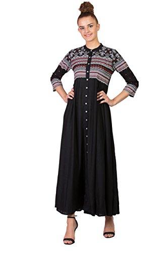 - SABHYATA Women Kurta Designer Ethnic Long Dress Casual Tunic Kurti for Women Ladies Partywear Material 100% Pure Rayon Chinese Collar XX-Large Black