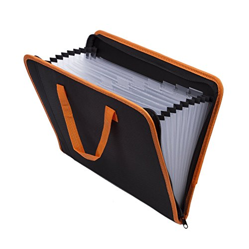 Expandable Portable Hand-Held Accordion File Document Folder File Organizer Canvas Zippers A4 and Letter Size 13 Pockets Black