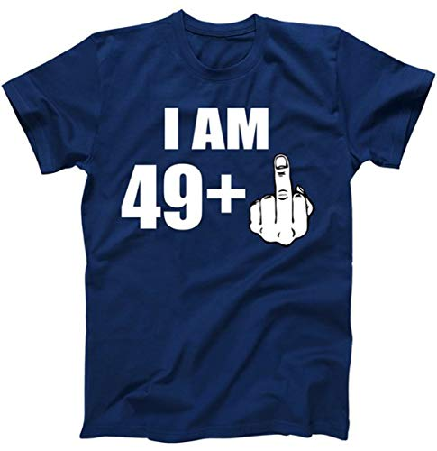 I Am 50 Middle Finger Funny 50th Birthday Gift T-Shirt Navy XL