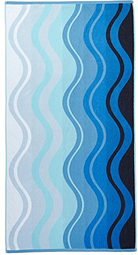 Arus Jacquard Woven Turkish Terry Cotton Beach Towel, Waves, Blue, 28x55