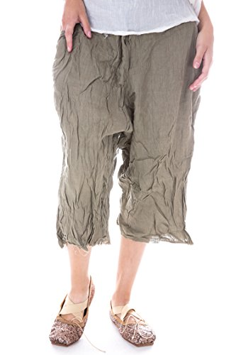 Magnolia Pearl Linen Sveta Pants With Flat Front, Pockets and (Flat Front Linen Skirt)