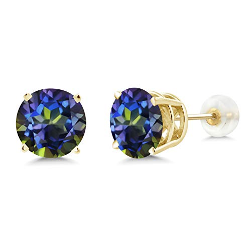 Gem Stone King 4.00 Ct Round 8mm Blue Mystic Topaz 14K Yellow Gold Stud -