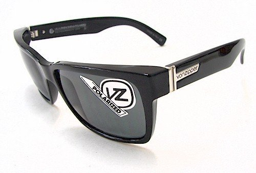 VON ZIPPER Elmore Polarized Sunglasses, Black Gloss/Grey Poly Polar