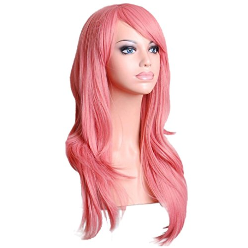 [DEESEE(TM) Sexy Long Women Fashion Synthetic Wavy Cosplay Party Full Wigs Cosplay wig (Pink)] (Making Waves Sailor Costume)