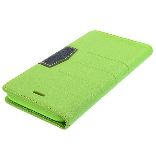 """Tasche für iPhone 6, 6S - 4,7"""" Zoll Flip Book-Style Handytasche Schutz Case Schale Hülle Cover - Grün"""