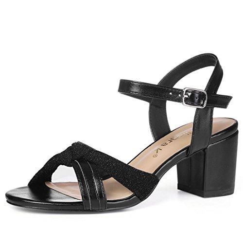 Donne Nero 9 Sandali US Nodo Abito Caviglia Glitter alla K Allegra Cinturino Blocco Tacco xpOwq7