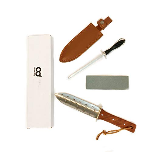 Amdokan88 Digging Knife with Leather Sheath, Professional Sharpener Rod and Stone Included, Serrated and Sharp Edges Camping Weeding Hori Hori Knife Full Tang Hardwood Handle (Rosewood)