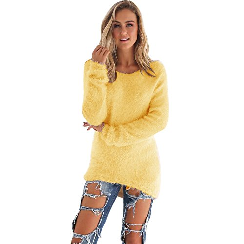 Rovinci Les Femmes d'hiver Casual Solides Manches Longues Col Rond Manches Longues Pull Pull, lgant Warmer Blouse Jaune