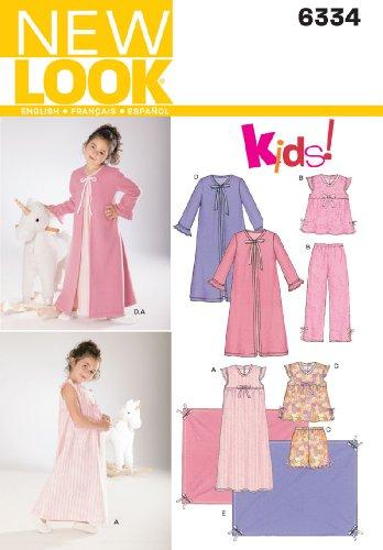 New Look Sewing Pattern 6334 Child Sleepwear, Size A (3-4-5-6-7-8)