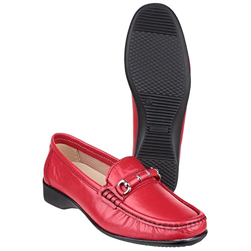Smart rossa pelle in Ladies Barington Cotswold Mocassino wZ0qta44