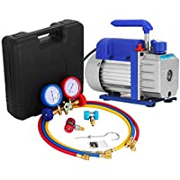 Bestauto Vacuum Pump Kit 3CFM 0.25 HP Air Vacuum Pump HVAC Air Conditioning Refrigerant Rotary Vane Single Stage Vacuum Pump with 3 Valve