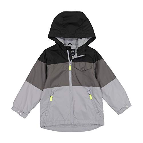 Osh Kosh Boys' Little Midweight Jersey Lined Jacket, Black Gray Color Block 7