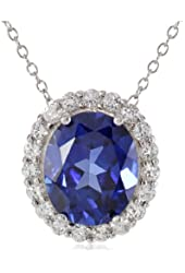 Sterling Silver Created Blue and White Sapphire Oval Pendant Necklace, 18""