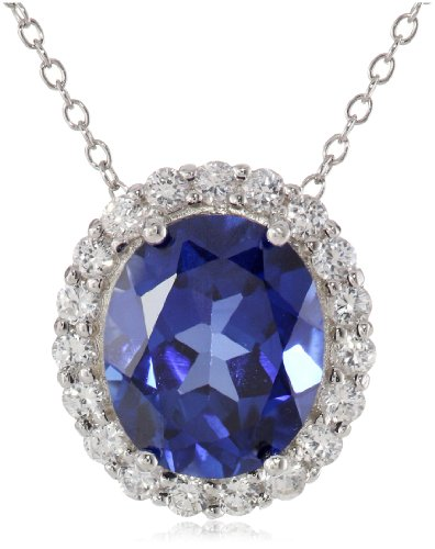 Sterling Silver Created Blue and White Sapphire Oval Pendant Necklace