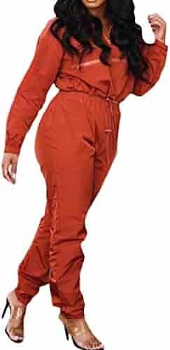 18e7febe3d Pandapang Women Elastic Waist Jogging Pants Two Pieces Solid Tracksuit Set
