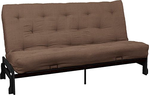 Bali True 8-inch Loft Cotton/Foam Futon Sofa Sleeper Bed, Queen-size, Black Arm Finish, Microfiber Suede Mocha Brown Upholstery