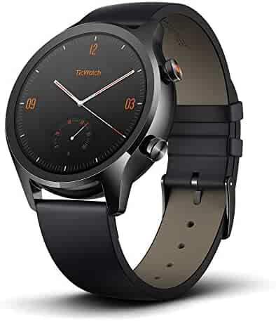 Mobvoi TicWatch C2, Wear OS by Google Classic smartwatch, IP68 Sweat and Waterproof, Google Pay, Compatible with iPhone and Android- Onyx
