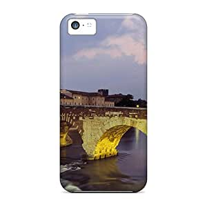 High Grade Johnlatisee Flexible Tpu Case For Iphone 5c - Light On Old Bridge In Italy