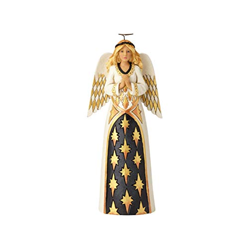 Enesco Jim Shore Heartwood Creek Black and Gold Praying Angel Figurine, 10.28