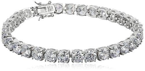 Faux Silver Bracelet (Platinum Plated Sterling Silver Round Cut 6mm Cubic Zirconia Tennis Bracelet, 8