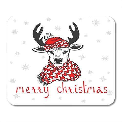 Semtomn Mouse Pad Calligraphic Merry Christmas and Happy New Year Lettering Deer Mousepad 9.8