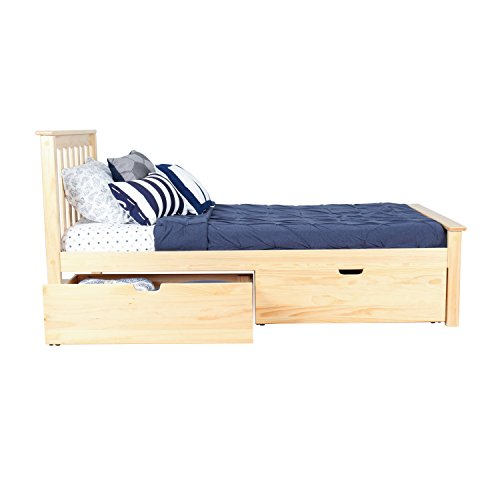 Max & Lily Solid Wood Twin-Size Bed with Under Bed Storage Drawers, Natural by Max & Lily (Image #2)