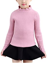 MFrannie Girl Ruffle Stand Collar Casual Slim Knitting Pullover Sweater