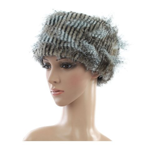 Accessoryo Women's Stripy Cossack Style Fur Trapper Hat One Size Black and Grey