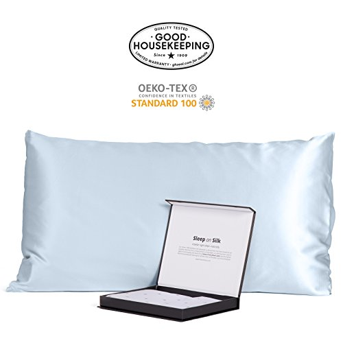 Fishers Finery 30mm 100% Pure Mulberry Silk Pillowcase Good Housekeeping Quality Tested (Lt Blue, K)