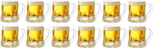 Circleware Roadhouse Mini Beer Mug Shot Glasses with Handles (Clear - Set of 12) ()