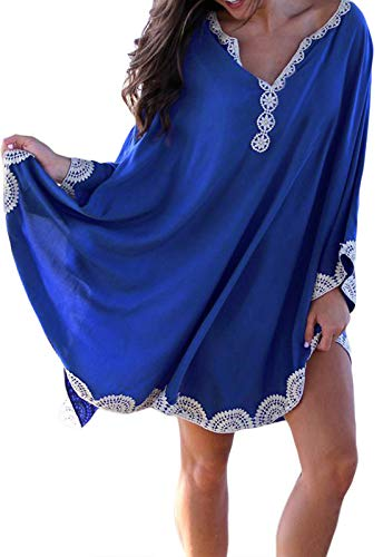 GOSOPIN Women Lace Beachwear Bikini Swimsuit Cover Up Maxi Dress One Size Blue