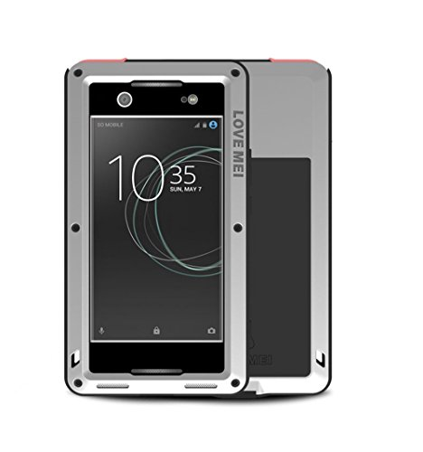 SONY Xperia XA1 Ultra Case , Bpowe Armor Tank Aluminum Metal Gorilla Glass Shockproof Military Heavy Duty sturdy Protector Cover Hard Case for SONY Xperia XA1 Ultra (Silver)