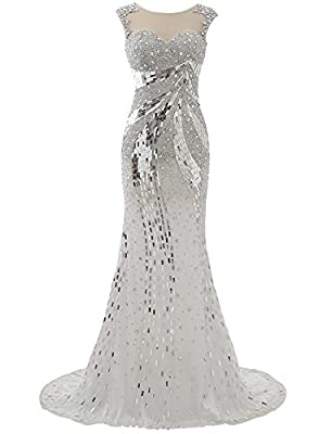 Shadi Bridal Elegant Sequin Crystal Mermaid Evening Gowns Prom Dresses Formal for Women