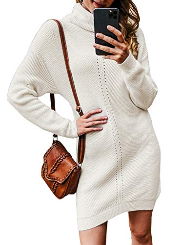 Miessial Women's Thick Cable Knit Turtleneck Sweater Mini Dress Winter Elasticity Long Pullover Sweaters White 4-6
