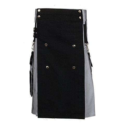 Scottish Black & Gray Two Tone Utility Kilt (Belly Button Measurement 42)