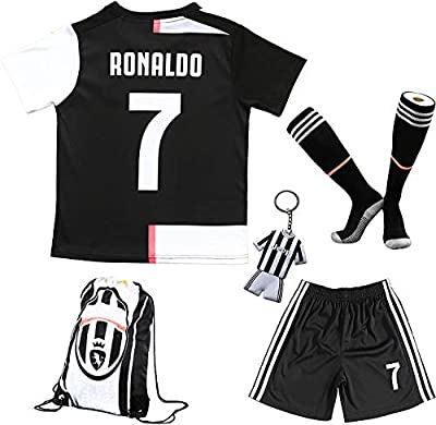 BIRDBOX Youth Sportswear C.Ronaldo 7 Kids Home Soccer Jersey/Shorts Bag Keychain Football Socks Set