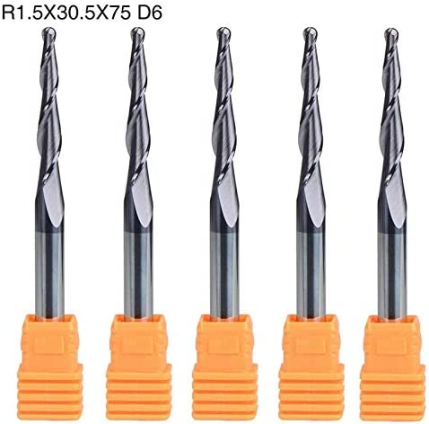 5Pcs 6mm Shank Carbide Tapered Ball Nose End Mill Bits R1.5mm 2 Flute CNC Tools