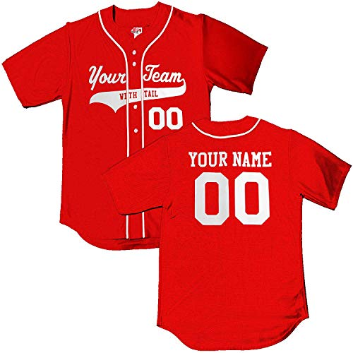 Scarlet Red White Piping Braid Trim Classic Custom Baseball Jersey | Adult ()