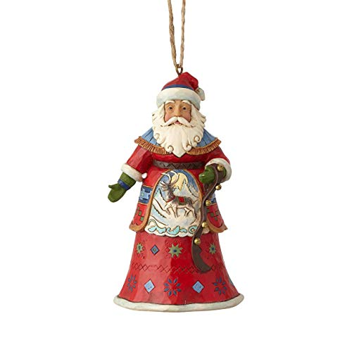 Enesco Jim Shore Heartwood Creek Lapland Santa with Bells Hanging Ornament, 4.75