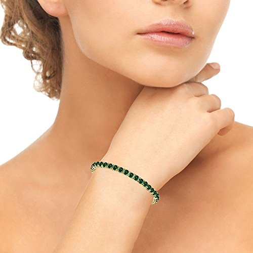 Yellow Gold Flashed Sterling Silver 4mm Simulated Emerald Round-cut Tennis Bracelet by GemStar USA (Image #2)